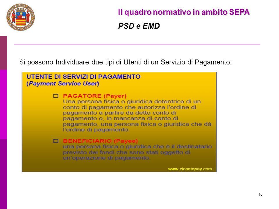 16 Il quadro normativo in ambito SEPA PSD e EMD Si possono Individuare due tipi di Utenti di un Servizio di Pagamento: