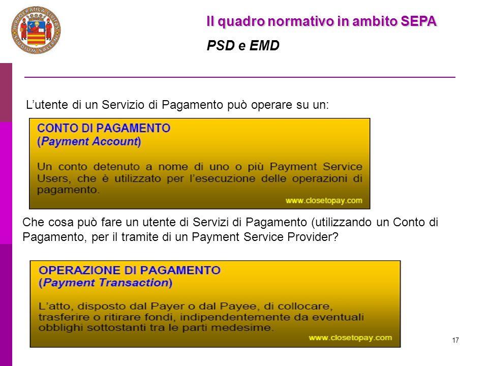 17 Il quadro normativo in ambito SEPA PSD e EMD L'utente di un Servizio di Pagamento può operare su un: Che cosa può fare un utente di Servizi di Paga