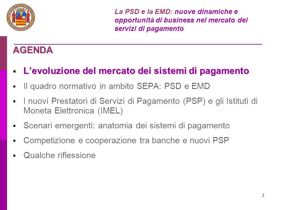 2 AGENDA  L'evoluzione del mercato dei sistemi di pagamento  Il quadro normativo in ambito SEPA: PSD e EMD  I nuovi Prestatori di Servizi di Pagame