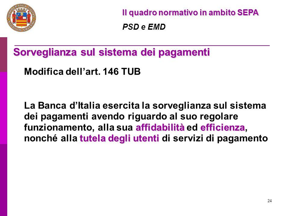 24 Sorveglianza sul sistema dei pagamenti Modifica dell'art. 146 TUB affidabilitàefficienza tutela degli utenti La Banca d'Italia esercita la sorvegli
