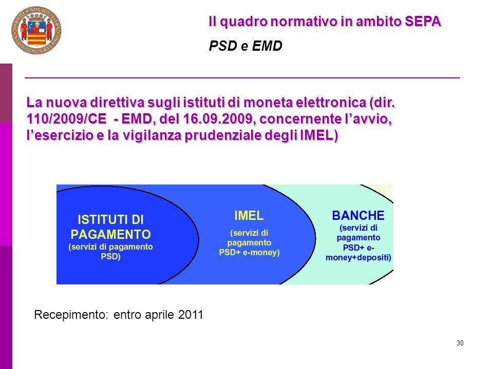 30 Il quadro normativo in ambito SEPA PSD e EMD La nuova direttiva sugli istituti di moneta elettronica (dir. 110/2009/CE - EMD, del 16.09.2009, conce