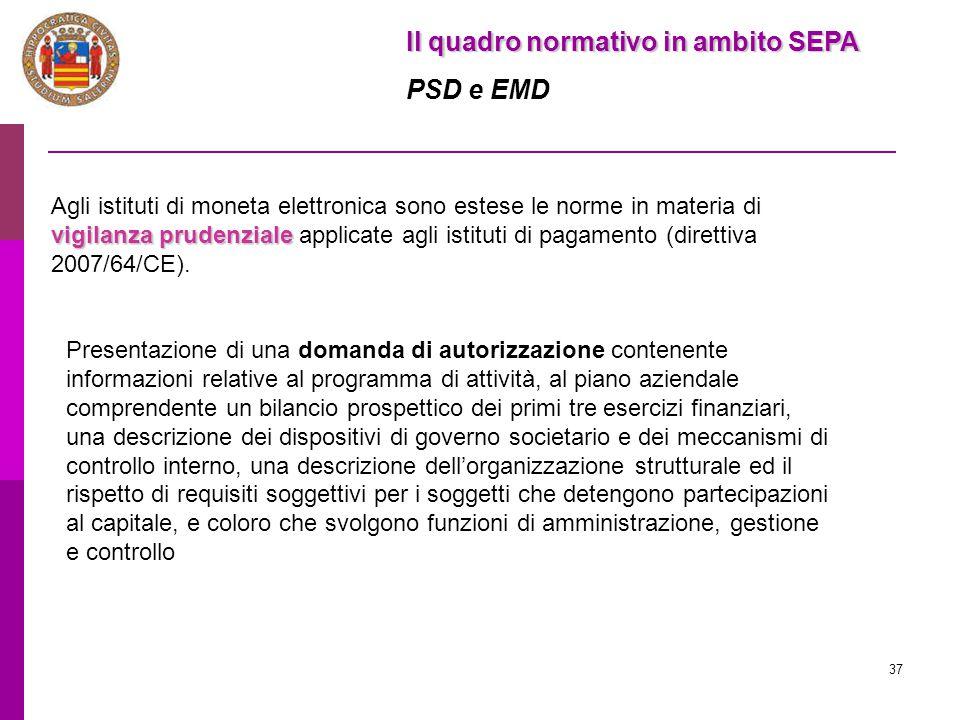 37 Il quadro normativo in ambito SEPA PSD e EMD vigilanza prudenziale Agli istituti di moneta elettronica sono estese le norme in materia di vigilanza