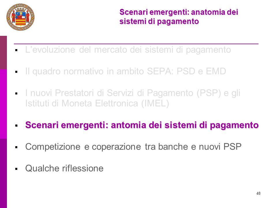 48  L'evoluzione del mercato dei sistemi di pagamento  Il quadro normativo in ambito SEPA: PSD e EMD  I nuovi Prestatori di Servizi di Pagamento (P
