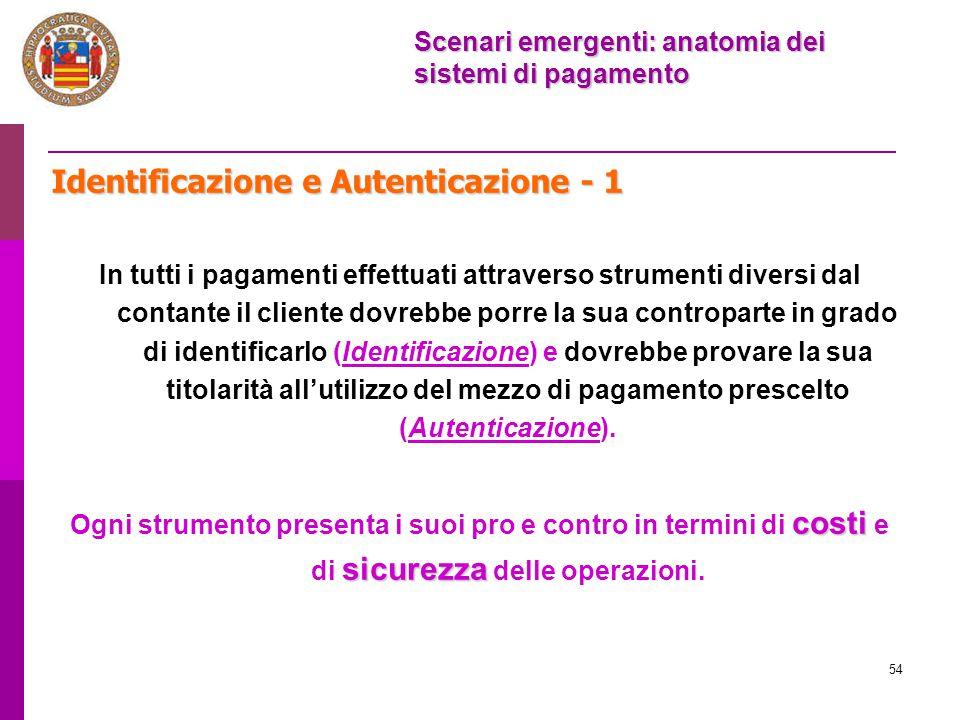 54 Identificazione e Autenticazione - 1 In tutti i pagamenti effettuati attraverso strumenti diversi dal contante il cliente dovrebbe porre la sua con