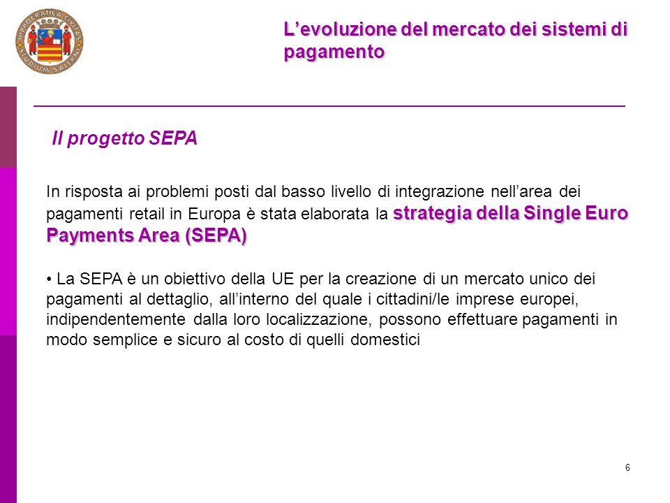 6 L'evoluzione del mercato dei sistemi di pagamento Il progetto SEPA strategia della Single Euro Payments Area (SEPA) In risposta ai problemi posti da