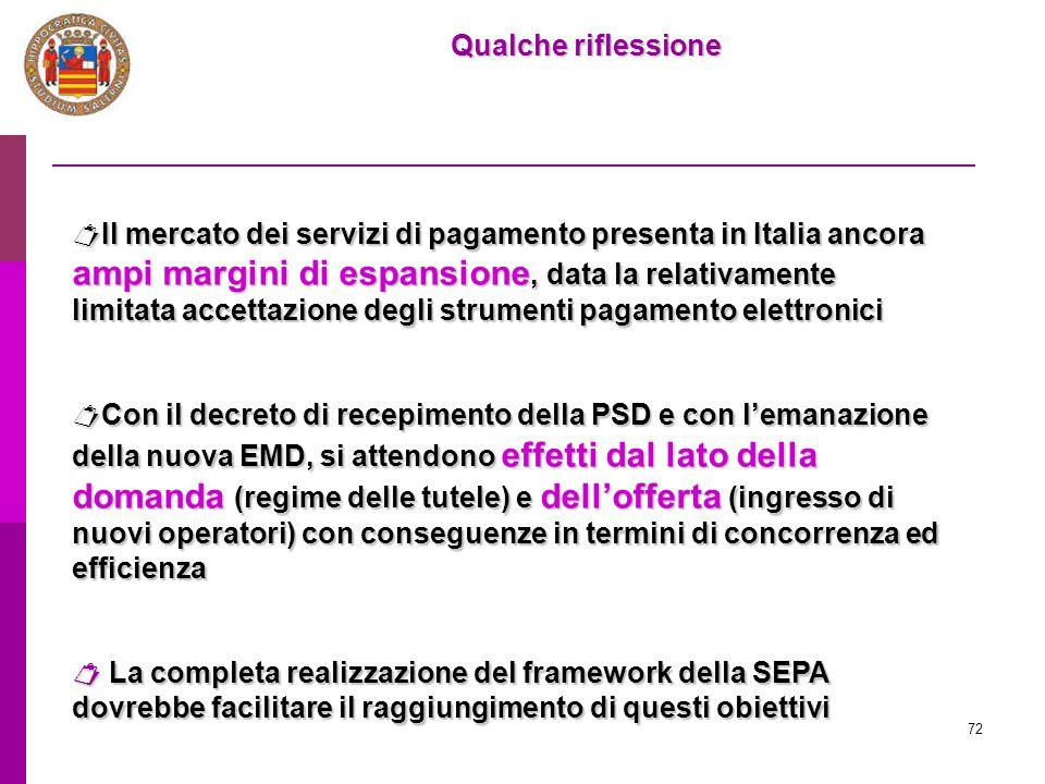 72 Qualche riflessione  Il mercato dei servizi di pagamento presenta in Italia ancora ampi margini di espansione, data la relativamente limitata acce