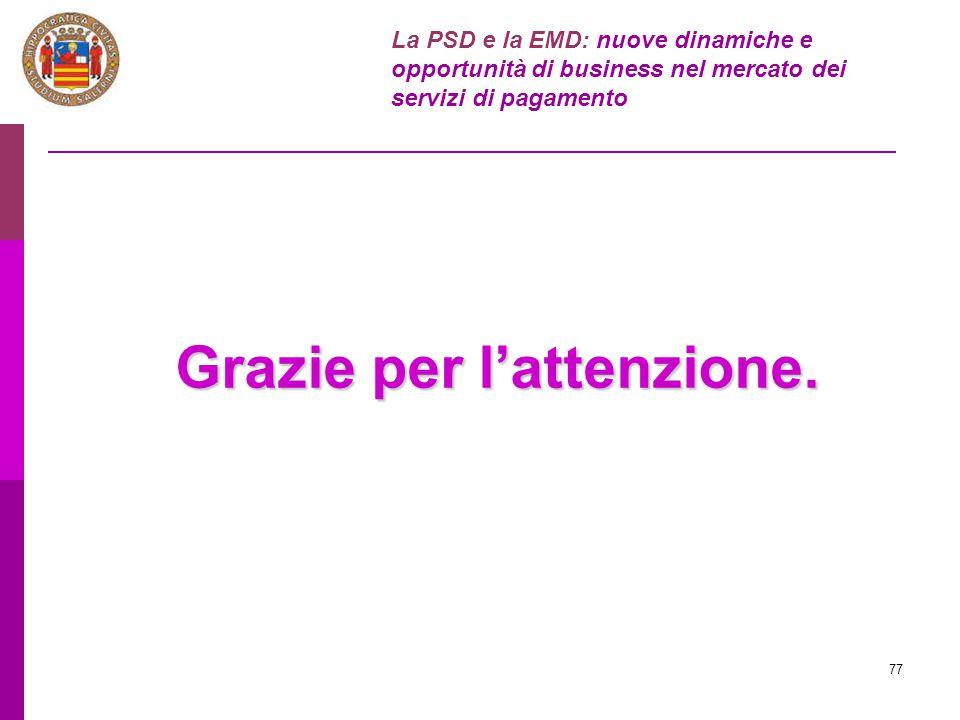 77 Grazie per l'attenzione. La PSD e la EMD: nuove dinamiche e opportunità di business nel mercato dei servizi di pagamento