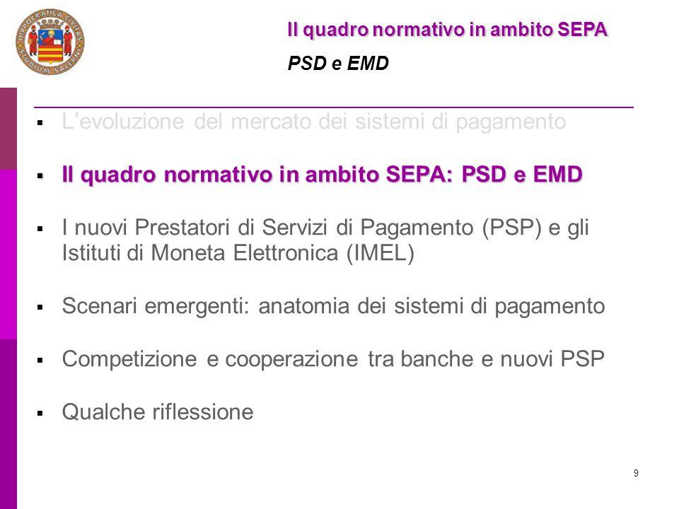 9  L'evoluzione del mercato dei sistemi di pagamento  Il quadro normativo in ambito SEPA: PSD e EMD  I nuovi Prestatori di Servizi di Pagamento (PS