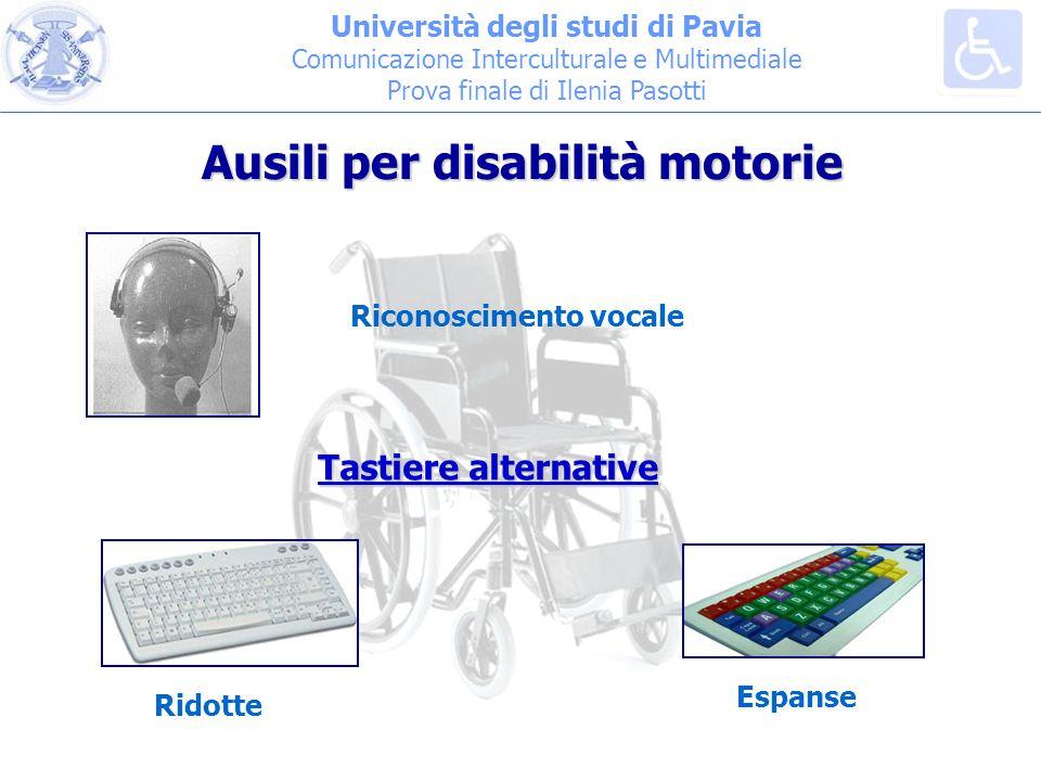 Università degli studi di Pavia Comunicazione Interculturale e Multimediale Prova finale di Ilenia Pasotti Ausili per disabilità motorie Riconoscimento vocale Tastiere alternative Ridotte Espanse