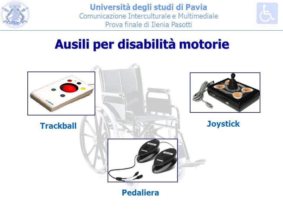 Università degli studi di Pavia Comunicazione Interculturale e Multimediale Prova finale di Ilenia Pasotti Trackball Joystick Pedaliera Ausili per disabilità motorie