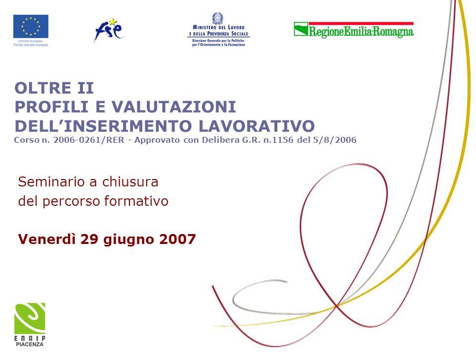 OLTRE II PROFILI E VALUTAZIONI DELL'INSERIMENTO LAVORATIVO Corso n. 2006-0261/RER - Approvato con Delibera G.R. n.1156 del 5/8/2006 Seminario a chiusu