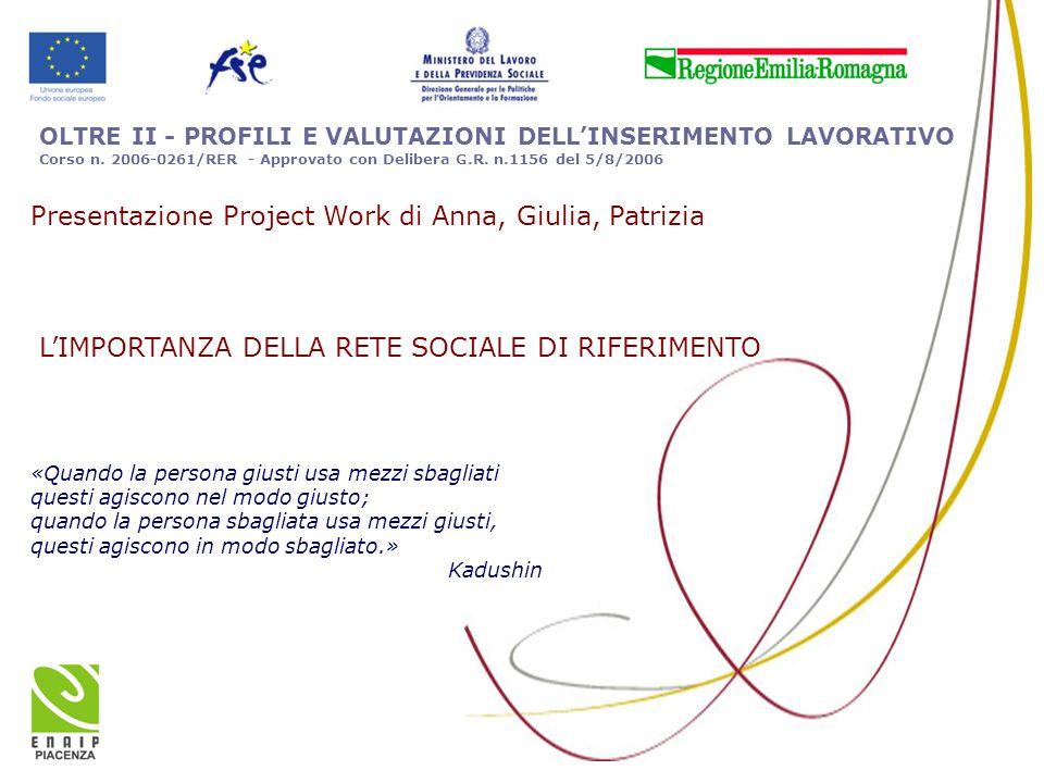 OLTRE II - PROFILI E VALUTAZIONI DELL'INSERIMENTO LAVORATIVO Corso n. 2006-0261/RER - Approvato con Delibera G.R. n.1156 del 5/8/2006 «Quando la perso