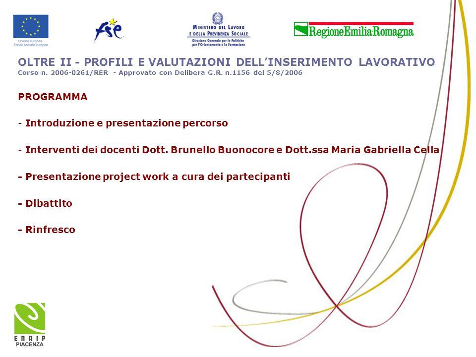 OLTRE II - PROFILI E VALUTAZIONI DELL'INSERIMENTO LAVORATIVO Corso n. 2006-0261/RER - Approvato con Delibera G.R. n.1156 del 5/8/2006 PROGRAMMA - Intr