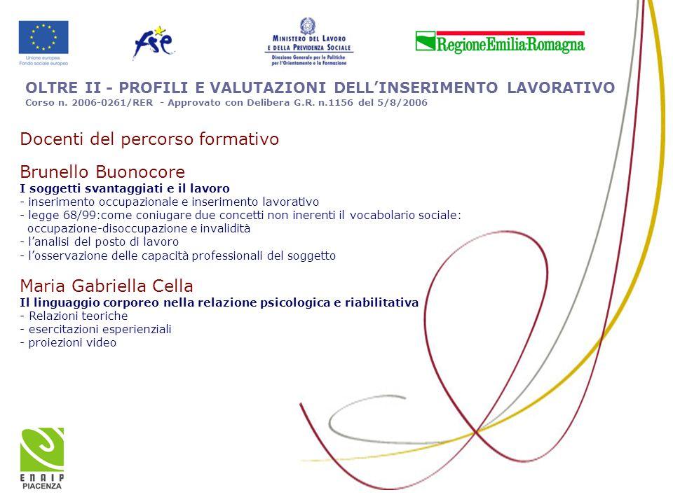 OLTRE II - PROFILI E VALUTAZIONI DELL'INSERIMENTO LAVORATIVO Corso n. 2006-0261/RER - Approvato con Delibera G.R. n.1156 del 5/8/2006 Docenti del perc