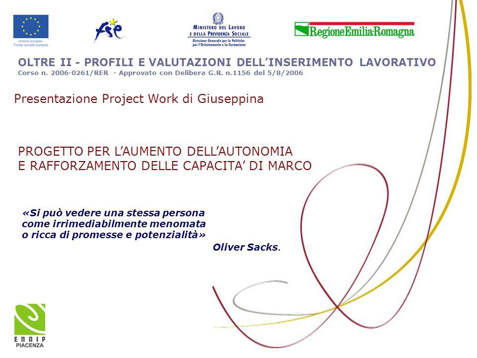 OLTRE II - PROFILI E VALUTAZIONI DELL'INSERIMENTO LAVORATIVO Corso n. 2006-0261/RER - Approvato con Delibera G.R. n.1156 del 5/8/2006 «Si può vedere u
