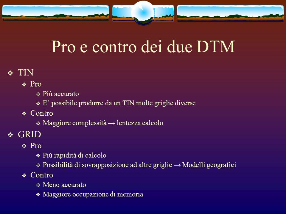 Pro e contro dei due DTM  TIN  Pro  Più accurato  E' possibile produrre da un TIN molte griglie diverse  Contro  Maggiore complessità  lentezza calcolo  GRID  Pro  Più rapidità di calcolo  Possibilità di sovrapposizione ad altre griglie  Modelli geografici  Contro  Meno accurato  Maggiore occupazione di memoria