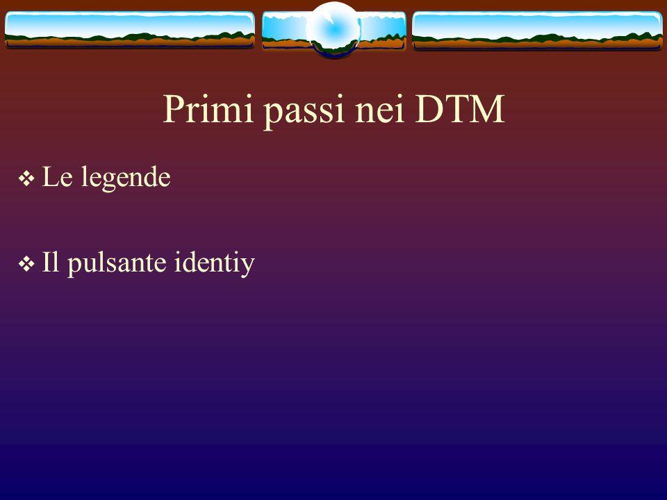 Primi passi nei DTM  Le legende  Il pulsante identiy