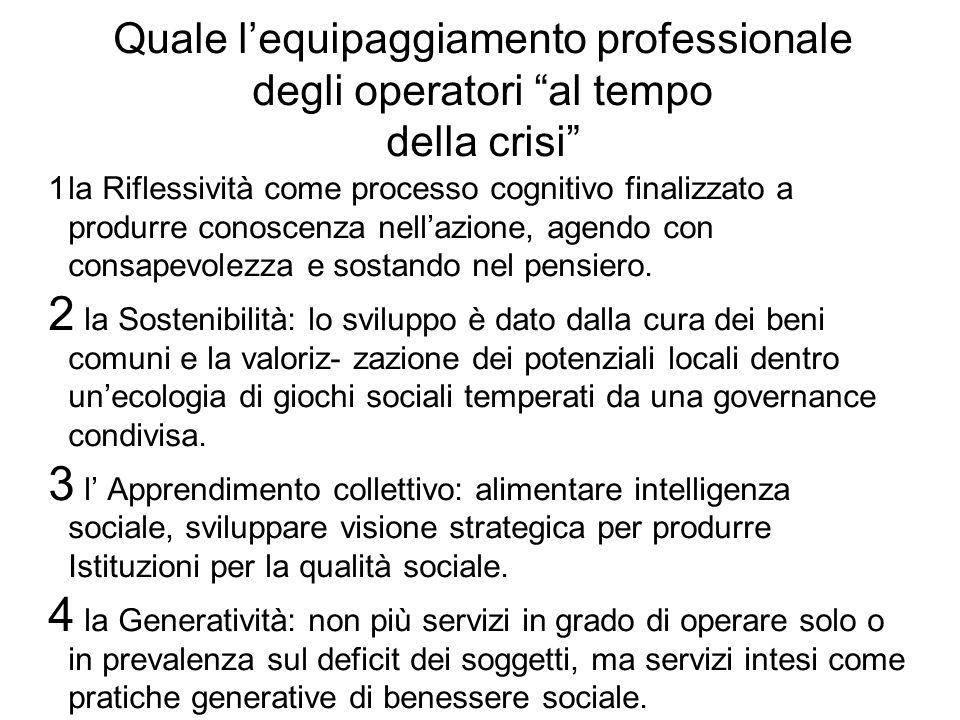 Quale l'equipaggiamento professionale degli operatori al tempo della crisi 1 la Riflessività come processo cognitivo finalizzato a produrre conoscenza nell'azione, agendo con consapevolezza e sostando nel pensiero.