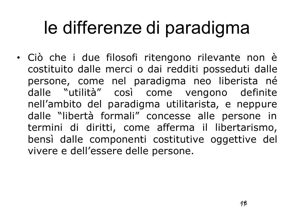17 le differenze di paradigma Ciò che i due filosofi ritengono rilevante non è costituito dalle merci o dai redditi posseduti dalle persone, come nel