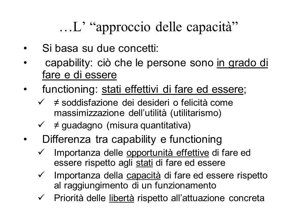 """…L' """"approccio delle capacità"""" Si basa su due concetti: capability: ciò che le persone sono in grado di fare e di essere functioning: stati effettivi"""