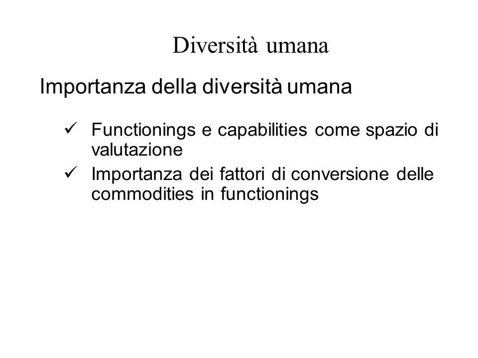 Diversità umana Importanza della diversità umana Functionings e capabilities come spazio di valutazione Importanza dei fattori di conversione delle co