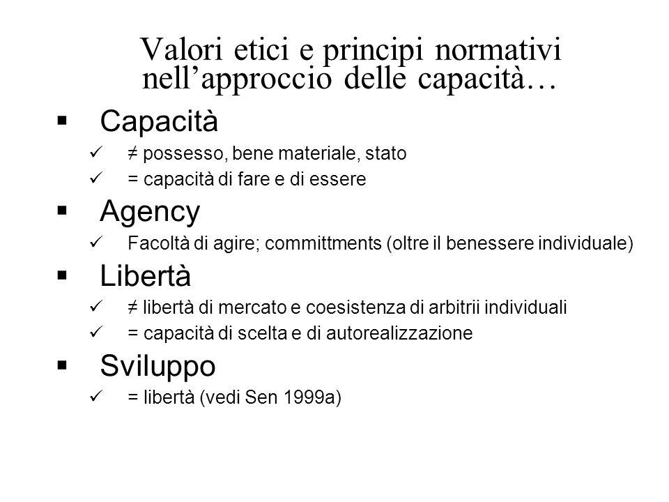 Valori etici e principi normativi nell'approccio delle capacità…  Capacità ≠ possesso, bene materiale, stato = capacità di fare e di essere  Agency