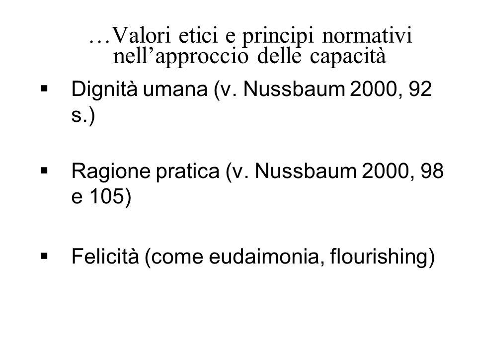 …Valori etici e principi normativi nell'approccio delle capacità  Dignità umana (v. Nussbaum 2000, 92 s.)  Ragione pratica (v. Nussbaum 2000, 98 e 1