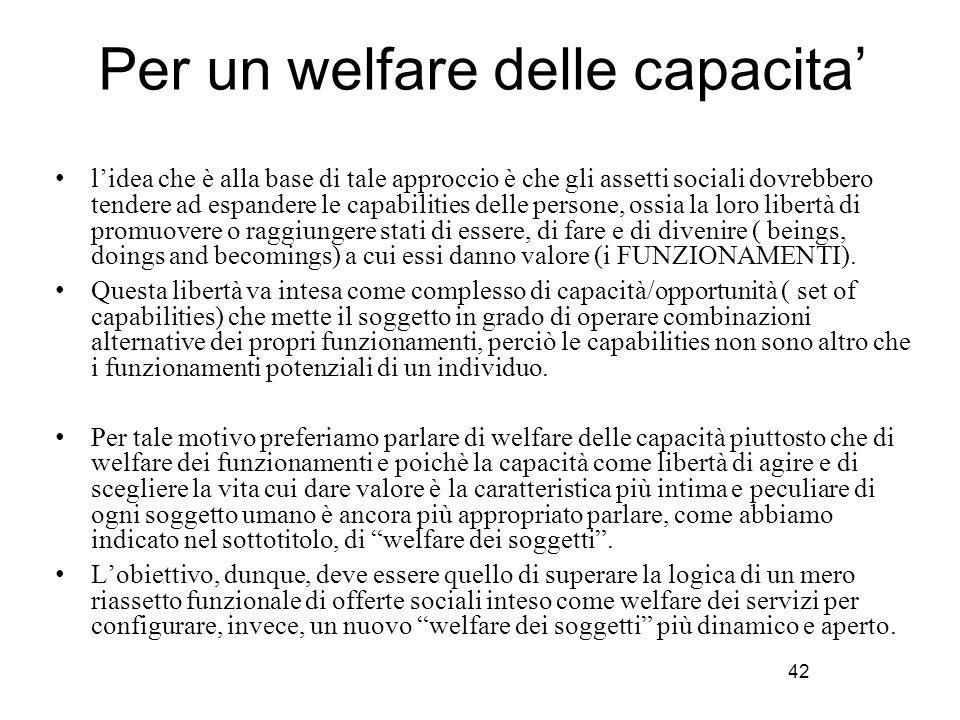 42 Per un welfare delle capacita' l'idea che è alla base di tale approccio è che gli assetti sociali dovrebbero tendere ad espandere le capabilities d