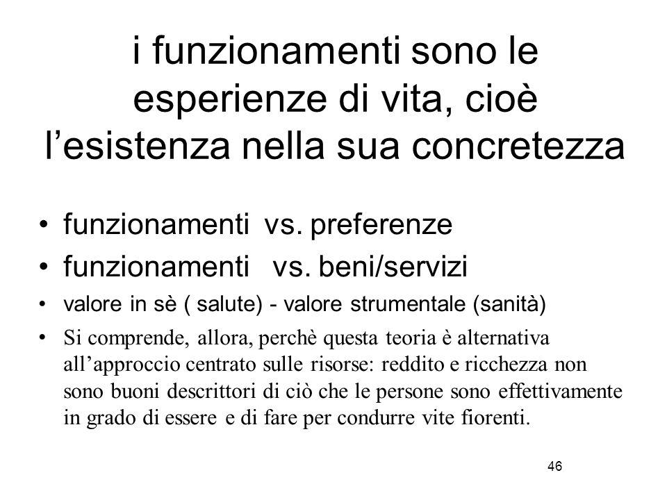 46 i funzionamenti sono le esperienze di vita, cioè l'esistenza nella sua concretezza funzionamenti vs. preferenze funzionamenti vs. beni/servizi valo