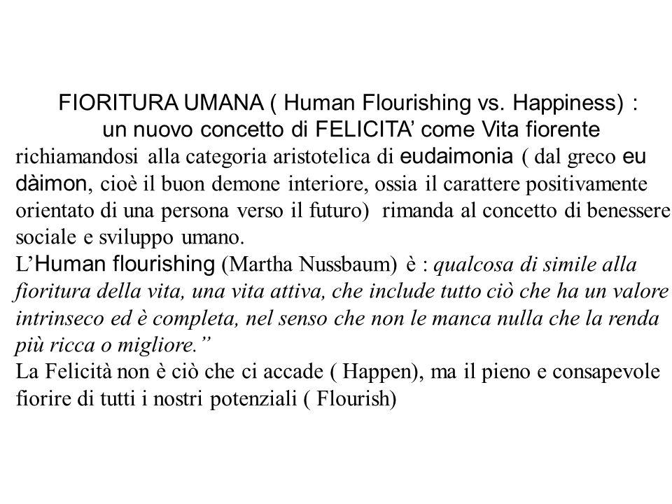 FIORITURA UMANA ( Human Flourishing vs. Happiness) : un nuovo concetto di FELICITA' come Vita fiorente richiamandosi alla categoria aristotelica di eu