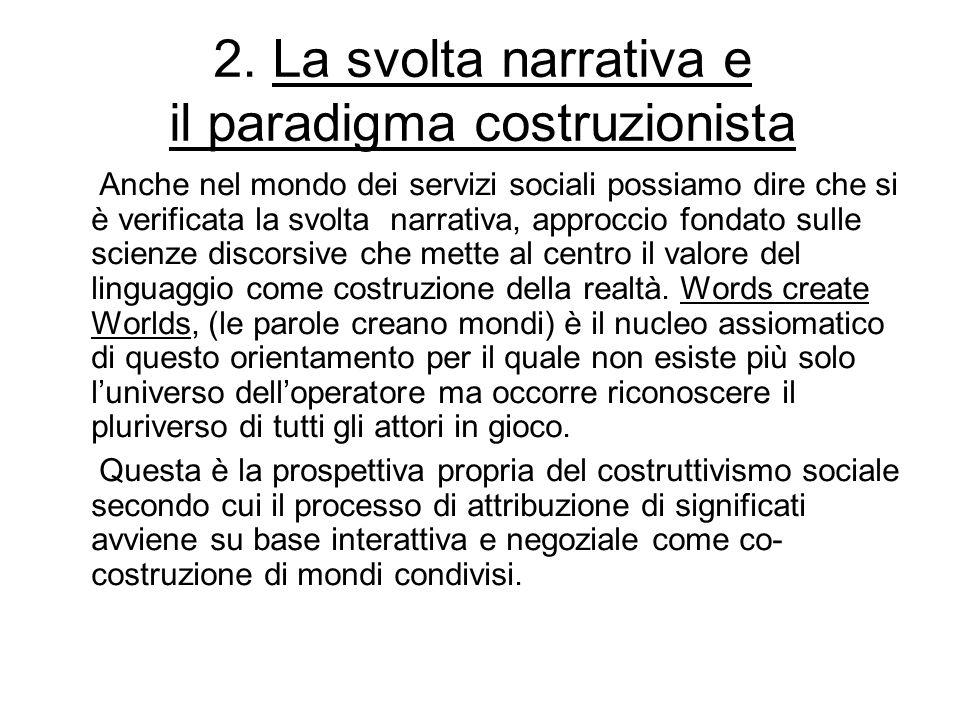 2. La svolta narrativa e il paradigma costruzionista Anche nel mondo dei servizi sociali possiamo dire che si è verificata la svolta narrativa, approc