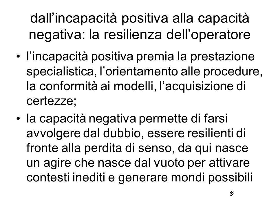 6 dall'incapacità positiva alla capacità negativa: la resilienza dell'operatore l'incapacità positiva premia la prestazione specialistica, l'orientame
