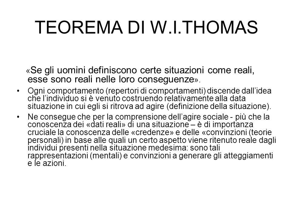TEOREMA DI W.I.THOMAS « Se gli uomini definiscono certe situazioni come reali, esse sono reali nelle loro conseguenze ». Ogni comportamento (repertori