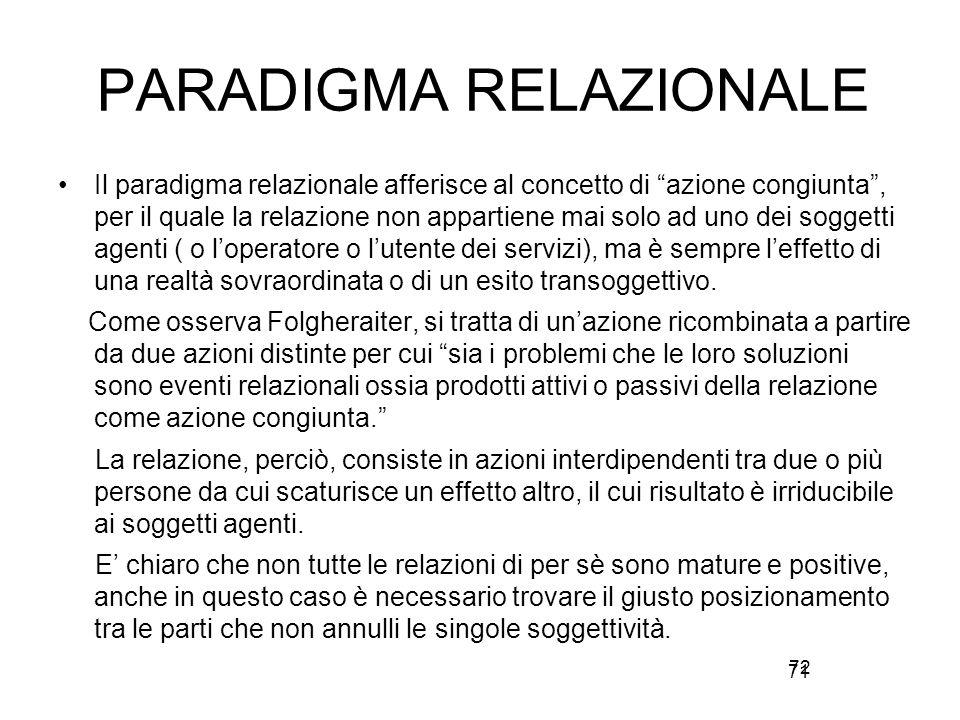 PARADIGMA RELAZIONALE Il paradigma relazionale afferisce al concetto di azione congiunta , per il quale la relazione non appartiene mai solo ad uno dei soggetti agenti ( o l'operatore o l'utente dei servizi), ma è sempre l'effetto di una realtà sovraordinata o di un esito transoggettivo.