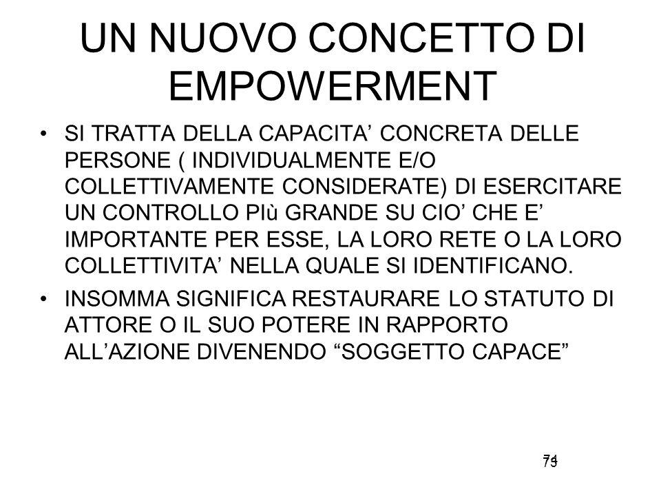 73 UN NUOVO CONCETTO DI EMPOWERMENT SI TRATTA DELLA CAPACITA' CONCRETA DELLE PERSONE ( INDIVIDUALMENTE E/O COLLETTIVAMENTE CONSIDERATE) DI ESERCITARE UN CONTROLLO PIù GRANDE SU CIO' CHE E' IMPORTANTE PER ESSE, LA LORO RETE O LA LORO COLLETTIVITA' NELLA QUALE SI IDENTIFICANO.