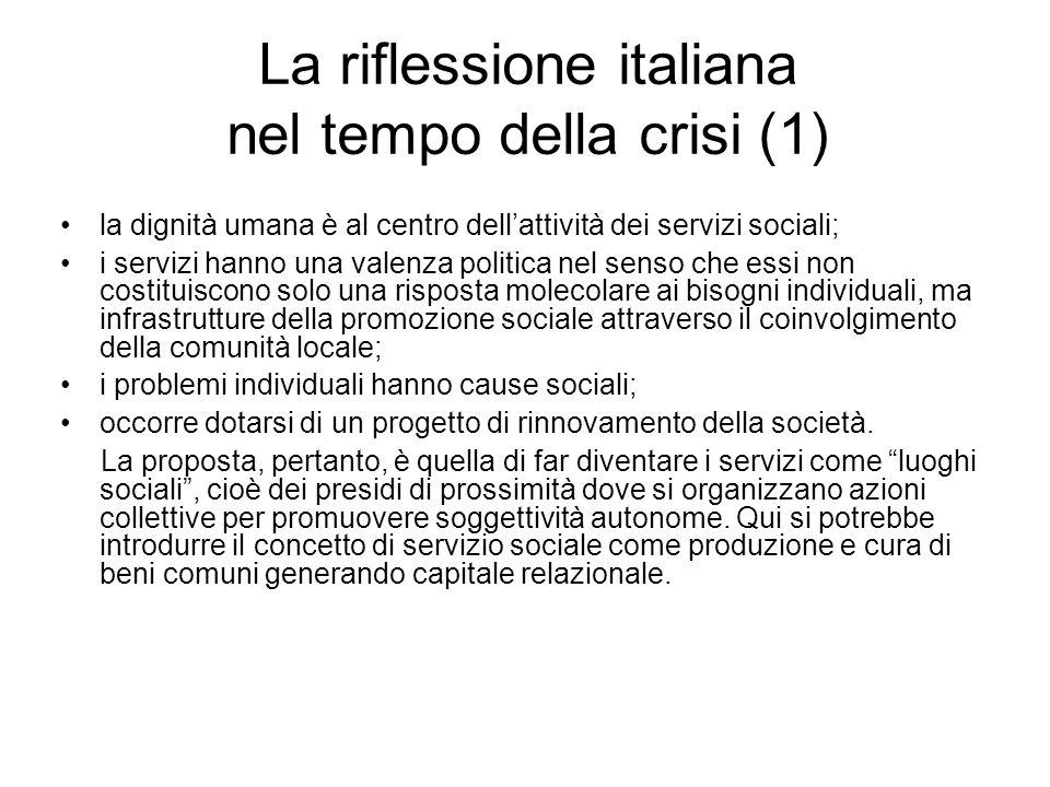 La riflessione italiana nel tempo della crisi (1) la dignità umana è al centro dell'attività dei servizi sociali; i servizi hanno una valenza politica