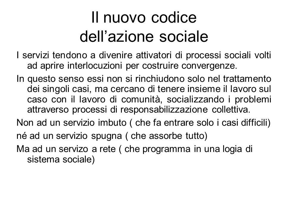 Il nuovo codice dell'azione sociale I servizi tendono a divenire attivatori di processi sociali volti ad aprire interlocuzioni per costruire convergen