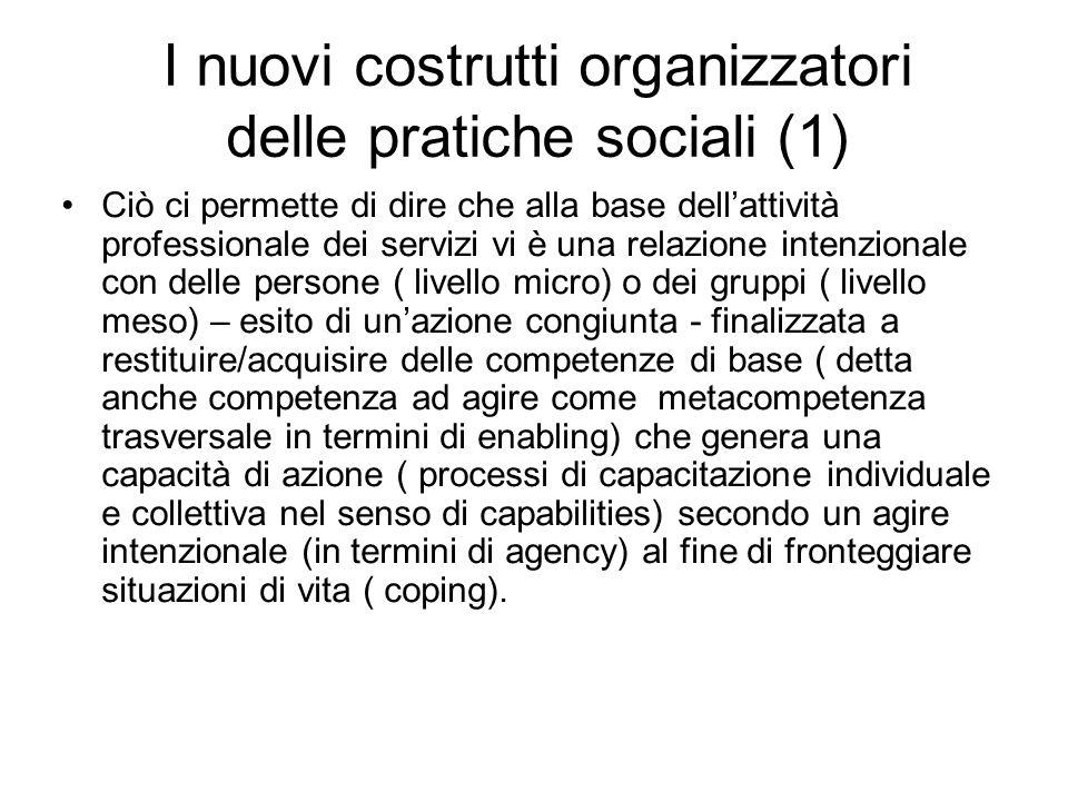 I nuovi costrutti organizzatori delle pratiche sociali (1) Ciò ci permette di dire che alla base dell'attività professionale dei servizi vi è una rela
