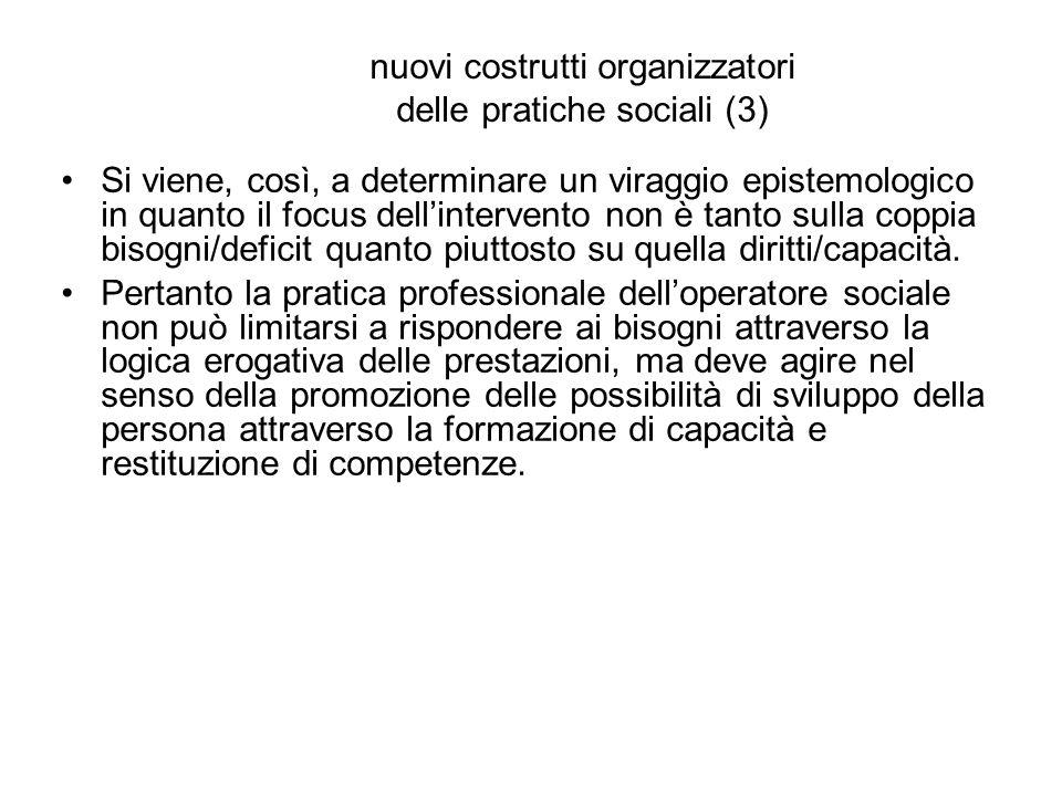 nuovi costrutti organizzatori delle pratiche sociali (3) Si viene, così, a determinare un viraggio epistemologico in quanto il focus dell'intervento n
