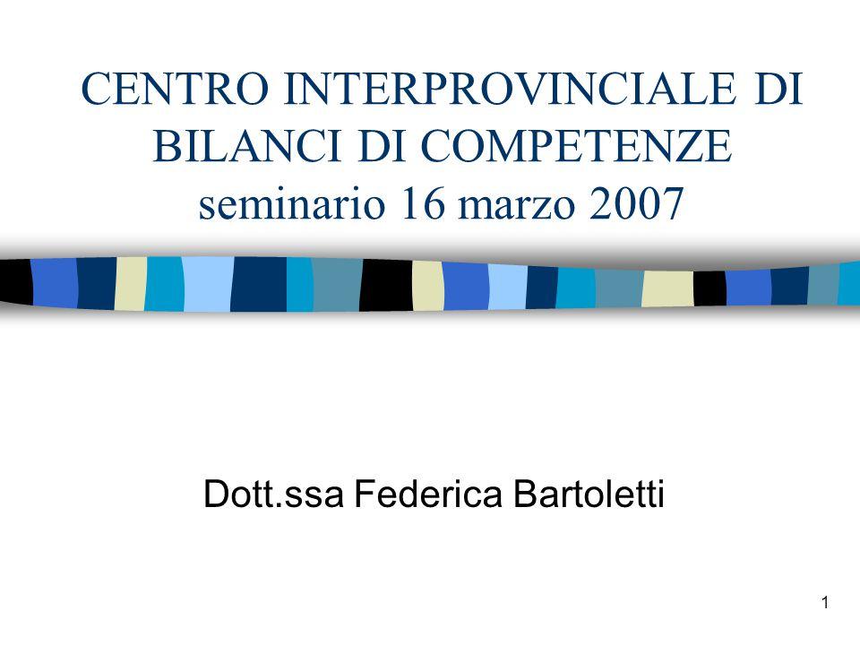 1 CENTRO INTERPROVINCIALE DI BILANCI DI COMPETENZE seminario 16 marzo 2007 Dott.ssa Federica Bartoletti