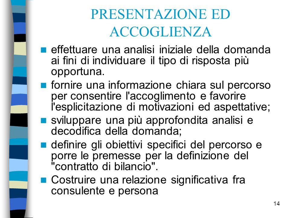 14 PRESENTAZIONE ED ACCOGLIENZA effettuare una analisi iniziale della domanda ai fini di individuare il tipo di risposta più opportuna. fornire una in