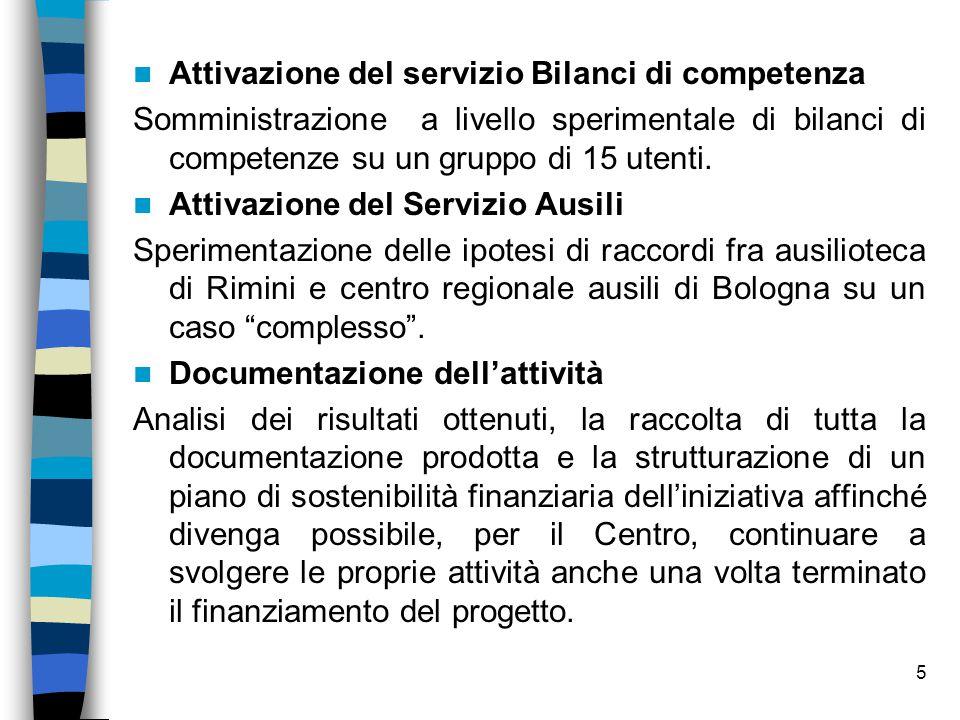 5 Attivazione del servizio Bilanci di competenza Somministrazione a livello sperimentale di bilanci di competenze su un gruppo di 15 utenti. Attivazio