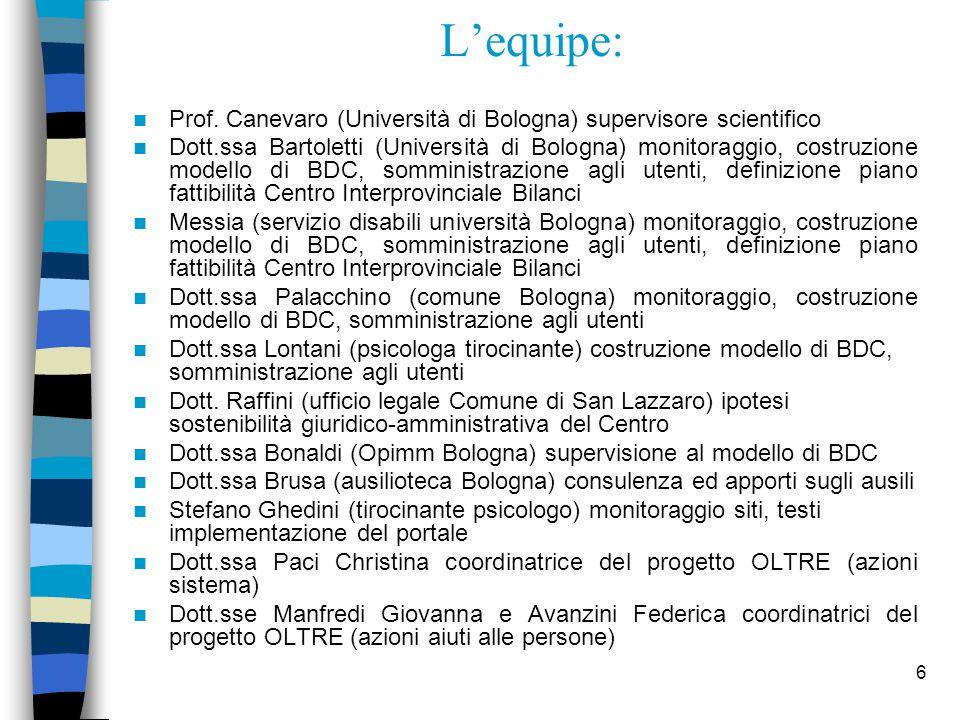 6 L'equipe: Prof. Canevaro (Università di Bologna) supervisore scientifico Dott.ssa Bartoletti (Università di Bologna) monitoraggio, costruzione model