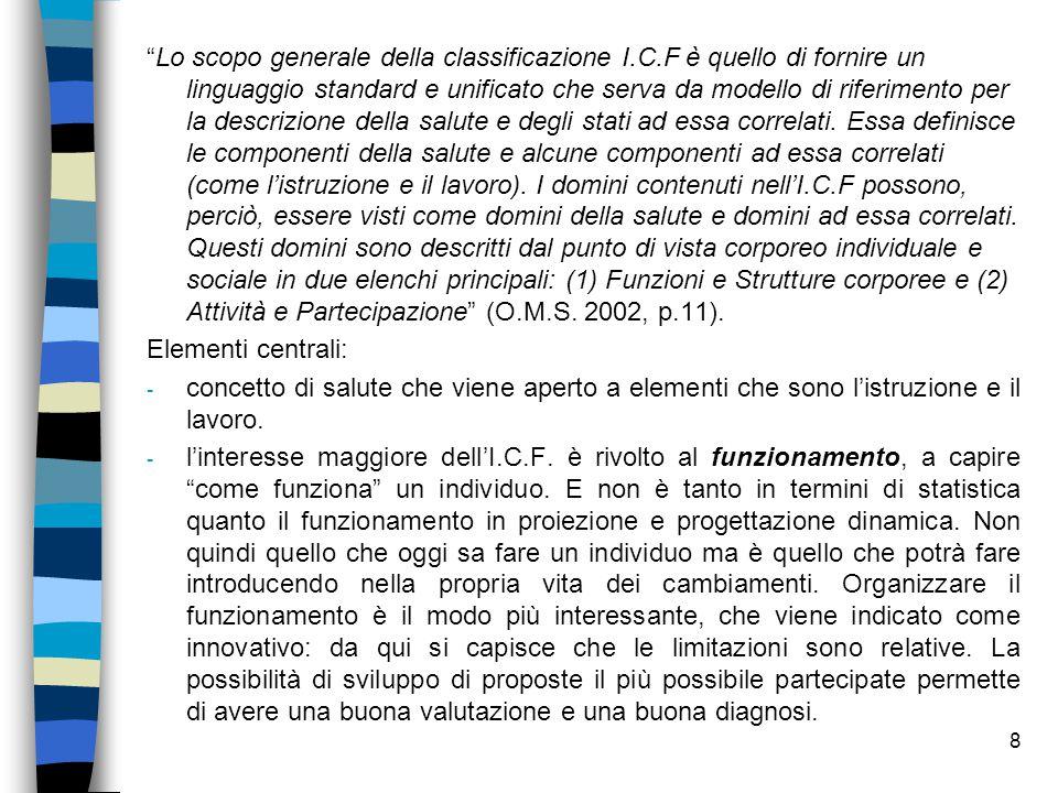 """8 """"Lo scopo generale della classificazione I.C.F è quello di fornire un linguaggio standard e unificato che serva da modello di riferimento per la des"""