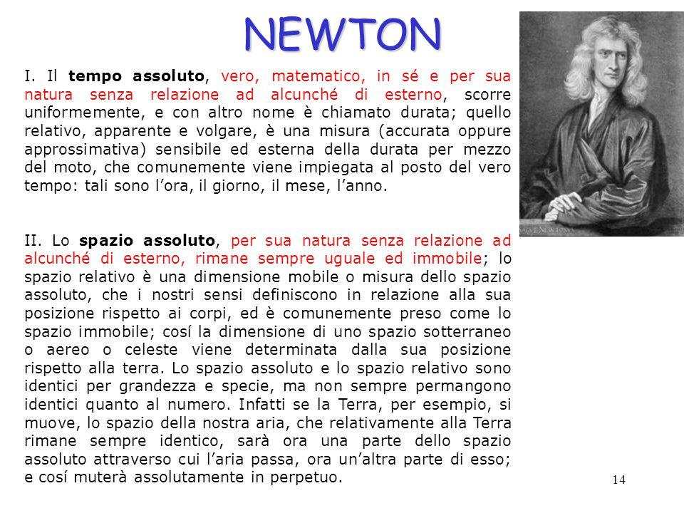 14NEWTON I. Il tempo assoluto, vero, matematico, in sé e per sua natura senza relazione ad alcunché di esterno, scorre uniformemente, e con altro nome