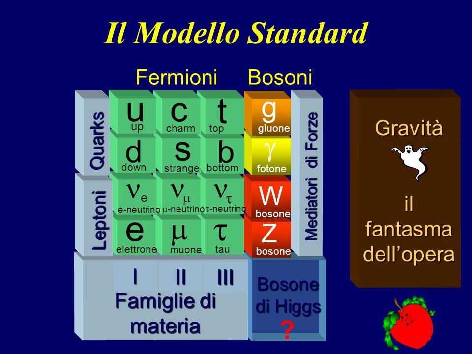 40 Bosone di Higgs Mediatori di Forze Z bosone W  fotone g gluone Famiglie di materia Famiglie di materia  tau   -neutrino b bottom t top III  muone   -neutrino s strange c charm II e elettrone e e-neutrino d down up uI Leptoni Quarks .