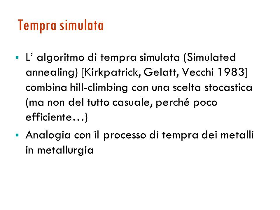 Tempra simulata  L' algoritmo di tempra simulata (Simulated annealing) [Kirkpatrick, Gelatt, Vecchi 1983] combina hill-climbing con una scelta stocastica (ma non del tutto casuale, perché poco efficiente…)  Analogia con il processo di tempra dei metalli in metallurgia