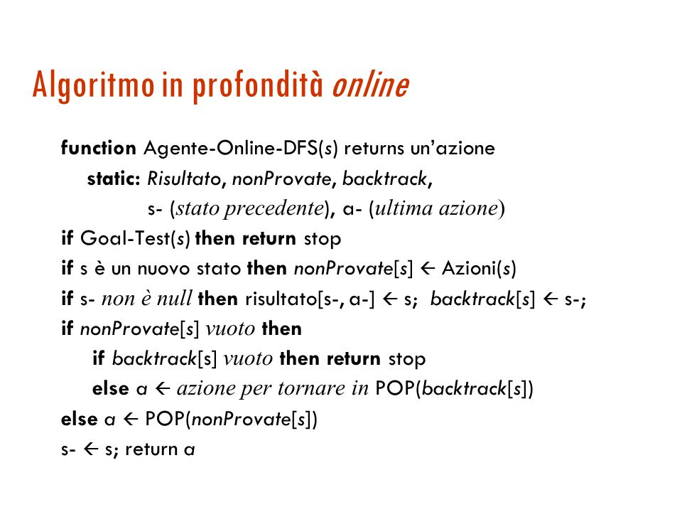 Algoritmo in profondità online function Agente-Online-DFS(s) returns un'azione static: Risultato, nonProvate, backtrack, s- ( stato precedente ), a- ( ultima azione) if Goal-Test(s) then return stop if s è un nuovo stato then nonProvate[s]  Azioni(s) if s- non è null then risultato[s-, a-]  s; backtrack[s]  s-; if nonProvate[s] vuoto then if backtrack[s] vuoto then return stop else a  azione per tornare in POP(backtrack[s]) else a  POP(nonProvate[s]) s-  s; return a