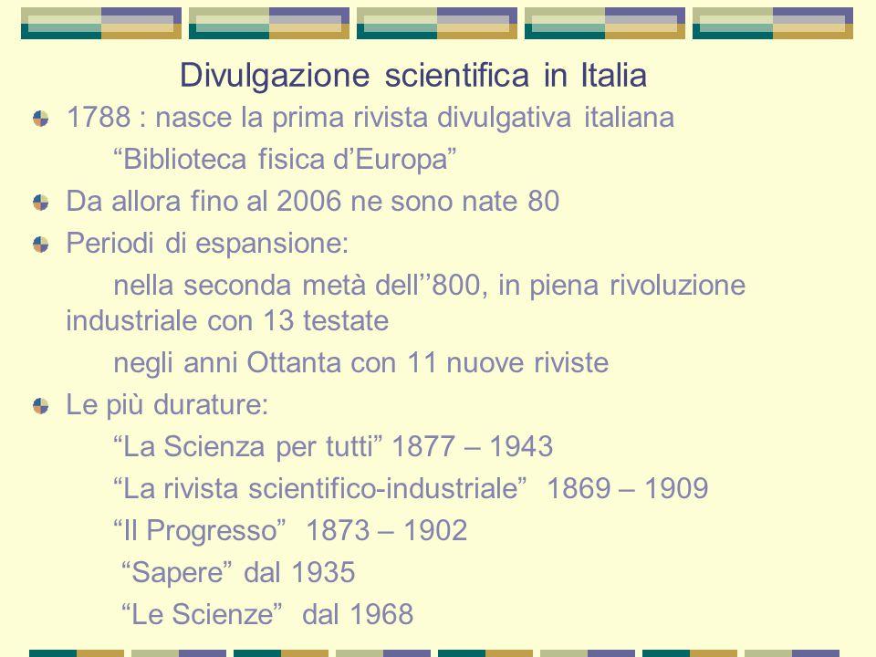 """Divulgazione scientifica in Italia 1788 : nasce la prima rivista divulgativa italiana """"Biblioteca fisica d'Europa"""" Da allora fino al 2006 ne sono nate"""