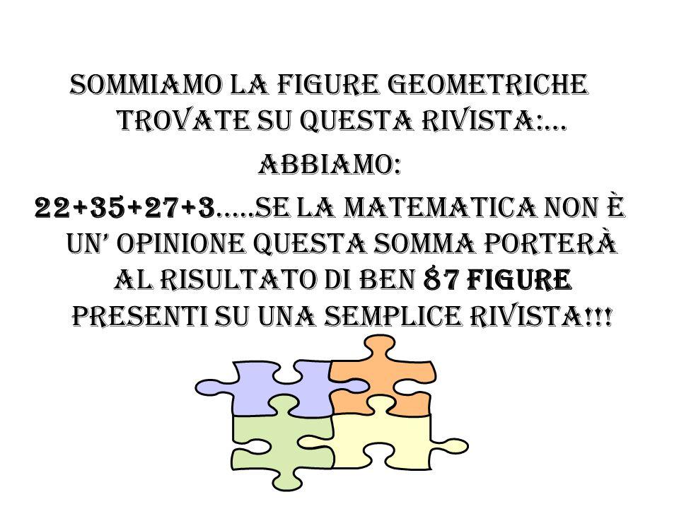 Sommiamo la figure geometriche trovate su questa rivista:… Abbiamo: 22+35+27+3…..se la matematica non è un' opinione questa somma porterà al risultato di ben 87 figure presenti su una semplice rivista!!!